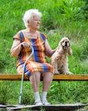Donna anziana e suo il cane che si siedono su un banco Fotografie Stock
