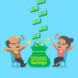 Donna anziana e uomo anziano del fumetto che ricevono il risparmio di pensionamento Immagine Stock