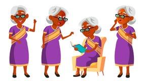 Donna anziana indiana in Sari Vector Anziani indù Asiatico Persona senior invecchiato Pensionato comico lifestyle cartolina illustrazione di stock