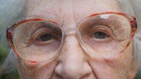 Donna anziana in occhiali che esamina macchina fotografica Occhi di una signora anziana con le grinze intorno loro Chiuda sul rit video d archivio