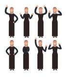 Donna araba che sta con differenti gesti di mano ed emozioni del fronte Caratteri musulmani femminili di vettore messi royalty illustrazione gratis