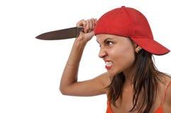 Donna arrabbiata con la lama Immagine Stock