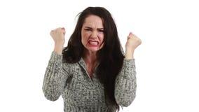 Donna arrabbiata e frustrata stock footage