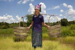Donna asiatica anziana, Akha Fotografia Stock Libera da Diritti