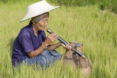 Donna asiatica anziana con il tubo dell'oppio Fotografia Stock