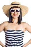 Donna asiatica in Beachwear fotografia stock libera da diritti
