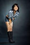 Donna asiatica in camicia Fotografia Stock