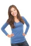 Donna asiatica casuale felice Fotografie Stock Libere da Diritti