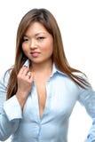 Donna asiatica che flirta Fotografia Stock