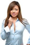 Donna asiatica che flirta Immagini Stock