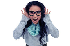 Donna asiatica che grida alla macchina fotografica Fotografie Stock Libere da Diritti