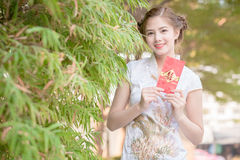 Donna asiatica in cinese immagine stock