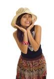 Donna asiatica con il cappello di paglia Fotografie Stock Libere da Diritti