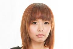 Donna asiatica con il fronte triste Fotografie Stock Libere da Diritti