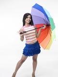 Donna asiatica con un ombrello Immagini Stock Libere da Diritti