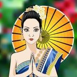 Donna asiatica in costume tradizionale della Tailandia Fotografia Stock