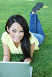 donna asiatica del computer portatile del calcolatore Fotografie Stock