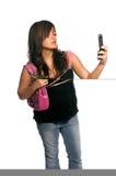 Donna asiatica del telefono delle cellule fotografie stock libere da diritti
