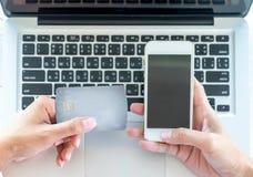 Donna asiatica di affari che per mezzo del computer portatile per l'acquisto online Immagini Stock