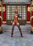 Donna asiatica di battaglia Fotografia Stock