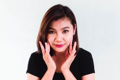 Donna asiatica di bellezza su fondo bianco Fotografia Stock