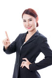 Donna asiatica di giovani affari che indica su immagine stock libera da diritti