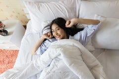 Donna asiatica felice di mattina Immagine Stock Libera da Diritti