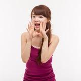 Donna asiatica giovane di conversazione Fotografie Stock Libere da Diritti