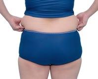 Donna asiatica grassa in vestito di nuotata Fotografia Stock