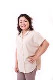 Donna asiatica invecchiata mezzo felice Fotografia Stock