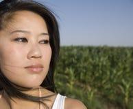 Donna asiatica misteriosa Fotografia Stock Libera da Diritti