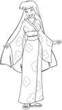 Donna asiatica in pagina di coloritura del kimono Immagine Stock
