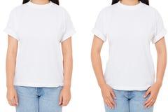 Donna asiatica potata di immagine due messa in maglietta isolata sulla ragazza bianca e coreana in maglietta bianca, spazio in bi fotografia stock libera da diritti