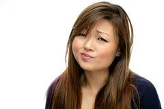 Donna asiatica sorridente in camicia blu Immagini Stock Libere da Diritti