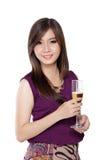 Donna asiatica splendida, su bianco fotografia stock