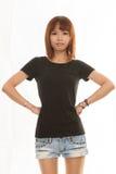 Donna asiatica su fondo bianco Fotografie Stock Libere da Diritti