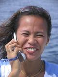 Donna asiatica sul telefono 3 Fotografia Stock Libera da Diritti