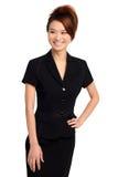 Donna asiatica in vestito nero Fotografia Stock Libera da Diritti