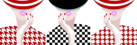 Donna astratta del modello dell'acquerello, cappello a strisce Fotografia Stock