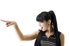 Donna atletica che indica una barretta nel senso Fotografie Stock