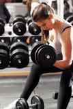 Donna atletica che pompa sui muscules con le teste di legno Immagine Stock