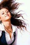 Donna attiva con capelli commoventi Immagini Stock Libere da Diritti