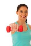 Donna attiva con l'allenamento delle teste di legno nella palestra di forma fisica isolata più Immagine Stock Libera da Diritti