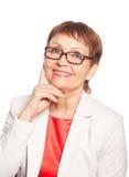 Donna attraente 50 anni di sorriso Immagini Stock Libere da Diritti