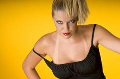 Donna attraente bionda con i contrassegni di tan di sole Fotografie Stock