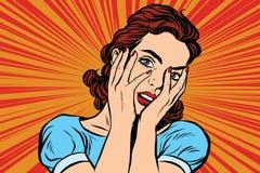 Donna attraente che copre il suo fronte di entrambe le mani illustrazione di stock