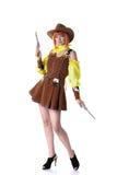 Donna attraente che posa in costume del cowboy Immagini Stock Libere da Diritti