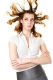 Donna attraente con capelli fly-away immagini stock libere da diritti