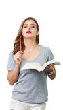 Donna attraente con i vetri di lettura fotografia stock libera da diritti