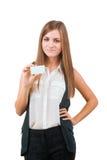 Donna attraente con il biglietto da visita Immagini Stock Libere da Diritti